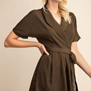 Olive Wrap Style Romper